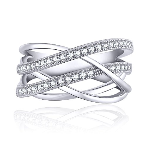 JO WISDOM Damen ring breit silber 925 mit AAA Zirkonia swarovski