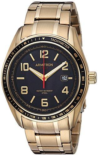 Armitron Men's 20/5252BKGP Solar Powered Date Calendar Dial Gold-Tone Bracelet Watch