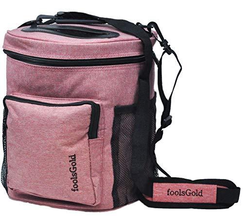 Leichte Wolle-pullover (FoolsGold Pro leicht tragen Dual Slot stricken tasche für Wolle und Garne mit 2 Veranstalter Abschnitte und Reißverschluss Tasche - Rosa)