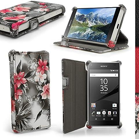 igadgitz 'Vintage Collezione' Rosa su Nero Floreale Eco Pelle Custodia Case Cover per Sony Xperia Z5 Compact E5803 con Supporto Multi-Angle + Pellicola