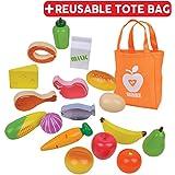 Juguetes de madera de alimentos, grupos de alimentos de madera, incluye una bolsa de lona, 18 piezas con alimentos