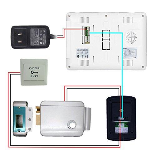 PUTECA 7 inch TFT LCD white and black Indoor unit 700TVL 6 IR LED Night vision Camera 5PCS ID card Black outdoor Unit Wire Video Door Phone Doorbell Intercom System 1 VS 1