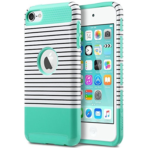 ULAK iPod Touch 5 Hülle, iPod Touch 6 Hülle Dual Layer Hybrid Schutzhülle Hart PC + TPU Weiche Stoßfest Tasche Case Cover für Apple iPod Touch 5 6 Generation (Minimal Mint Stripes) Ipod Touch 5 Cover
