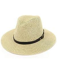 05d5f7f059afd Sombrero De Verano De Paja Sombreros Guardia Diseño De Simple Bastante  Solar Sombrero Grande De Playa con Hebilla Negra Cinturón para…