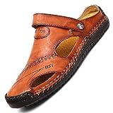TQGOLD Hombre Mujer Sandalias de Verano Zapatos de Playa Chanclas Zapatillas de Piel de Vacuno(Rojo Marrón,Tamaño 44)