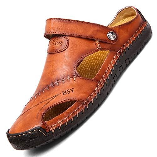 TQGOLD Flip Flops Herren Sandalen Sommer Leder Strandschuhe Hausschuhe Slipper Clogs Zehentrenner aus Rindsleder(Rot Braun,Größe 42)