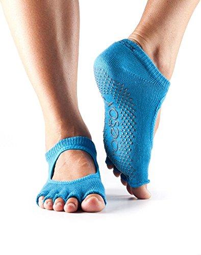 Mujer 1par Toesox Bella Yoga Calcetines de algodón orgánico con dedos abiertos en negro, Skydiver (Hellblau), medium