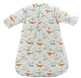 Jaimelavie Baby 3.5 Tog Winter Schlafsack ganz soft Kleine Kinder Schlafanzug mit abnehmbar Langarm aus Baumwolle, Bunt Wale, 80/Koerpergroesse 75-85cm
