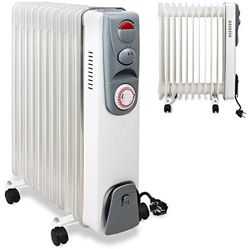 Elektrische Heizung Öl Radiator mit 11 Rippen 2500W Elektroheizung Mobil Timer Abschaltautomatik stufenlose Temperaturregelung Überhitzungsschutz