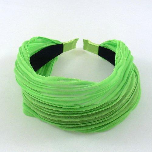 rougecaramel Haarreif/Haarband breites Band mit Falten–Neon Grün