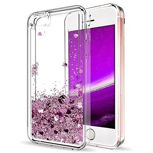 Mosoris Coque iPhone 5S Glitter Liquide Cover Mode 3D TPU Etui iPhone Se Etui Coque Transparent Silicone Bling Paillettes Flowing Sand pour iPhone 5 / 5S / Se Souple Flexible Case, Violet Clair