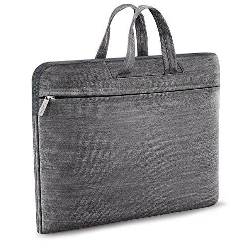 """deleyCON Notebooktasche für Notebook/Laptop bis 17"""" (43,2cm) - Tasche/Hülle aus Robuster Gewebter Baumwolle mit 3 Zubehörfächern/verstärkte Polsterwände/Innen Weiches Fleece - grau"""