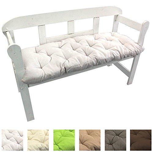 Gartenbank-Auflage Uni Auflage-kissen für Bänke und Gartenschaukel Sitzkissen für Bank Sitzpolster 8 cm dick, Farbe:Weiß, Größe:120 x 50 x 8 cm
