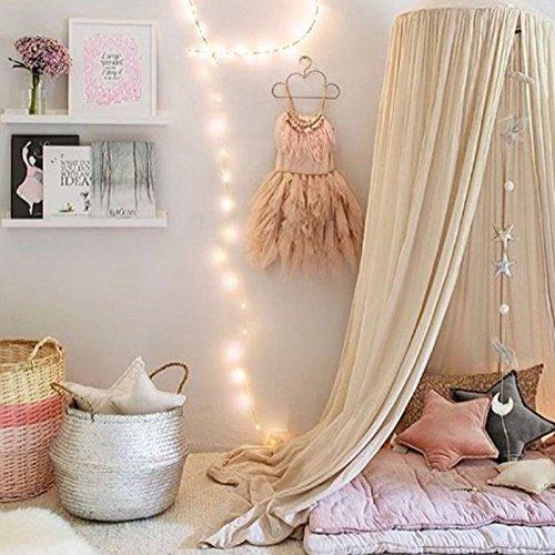 [Princess Dome Mosquito Nets] Kids Baby Bettwäsche Baumwolle Leinen Vorhang Himmel Netz für Kinder Room Decor 240cm für Urlaub Innen gelb