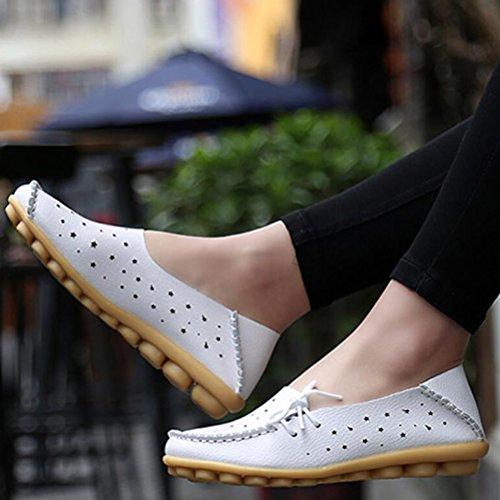 Vogstyle Mocassin Femme Casuel Chaussures Loisir Plat de Marche Ballerine 33-44 Blanc