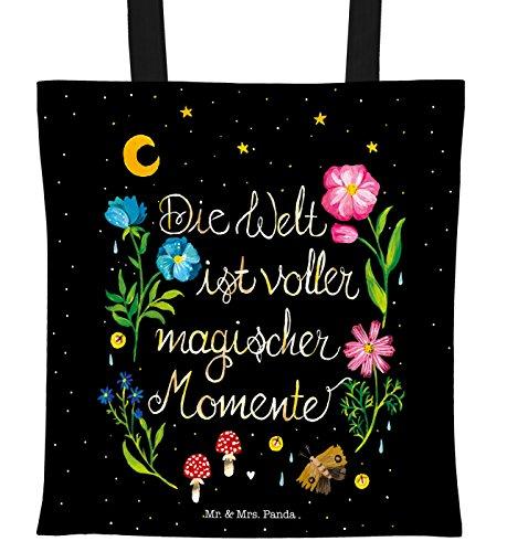 Mr. & Mrs. Panda Beutel, Shopper, Tragetasche Magische Welt mit Spruch - Farbe Schwarz