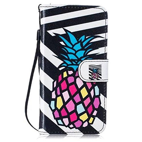 Coque iPhone 7, Étui en cuir pour iPhone 7, Lifetrut [Printed Patterns] Colorful Design Flip Portefeuille Case Couverture avec sangles pour iPhone 7 [Ananas] E203-Ananas