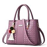 8-Color Damen Pu Woven Schultertasche Handtasche mit AnhäNger