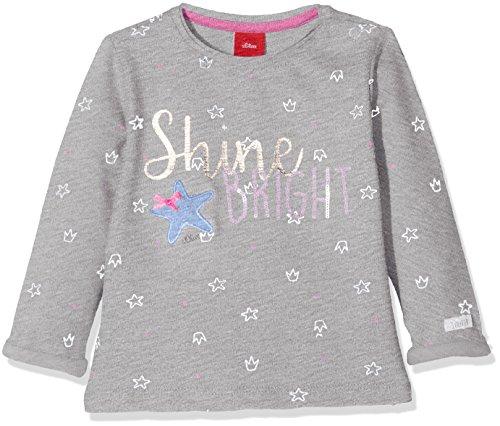 s.Oliver Baby-Mädchen Sweatshirt 65.802.41.4694, Grau (Grey Melange AOP 94A6), 74