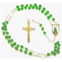 Rosario Vetro Verde Con Crocifisso Dorato