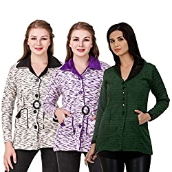 Kritika World Womens Wool Cardigan Dress (COAT_VLVT_BLACK_PURPLE_OCOT_GRN_Black Purple Green_Medium)