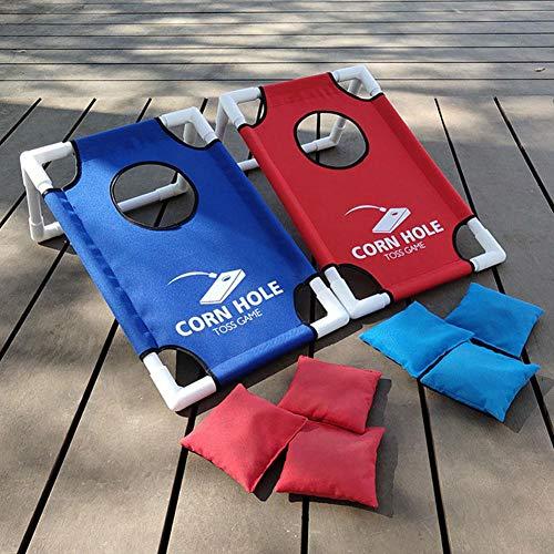 Zusammenklappbares Kornloch-Spiel-Set mit Kornlochbrettern, Heckklappe, Maiswurfbretter, Sitzsack,