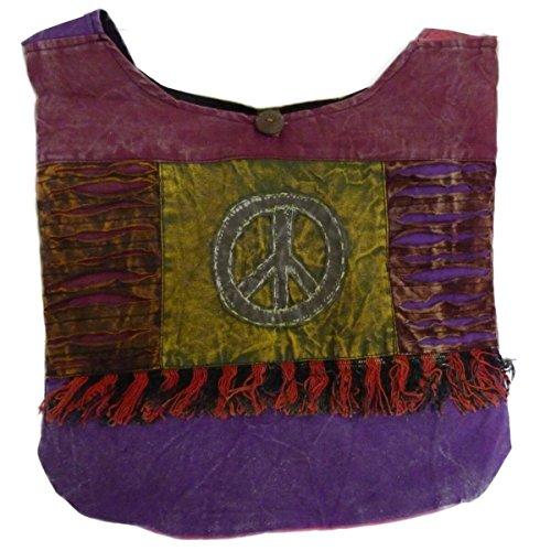 Patchwork Tasche Umhängetasche Handtasche Beuteltasche Tragetasche Schultertasche Shopper bestickt Farbe Peace-Flower Peace
