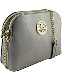 Vegan Faux Leather Multi Pockets Functional Dome Shape Cross Body Bag With Gold Tone Emblem (Light Pewter) By...