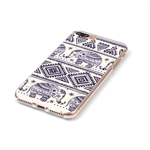 iPhone 7 Plus Hülle,iPhone 7 Plus Case, Cozy Hut Kreativ Design 3D Transparent TPU Hard Case Hülle Diamond Sequins Hülle Tasche Handyhülle Glitter Glitzer Sparkle Hart Plastik HardCase Crystal Clear R Stammes- Elefant