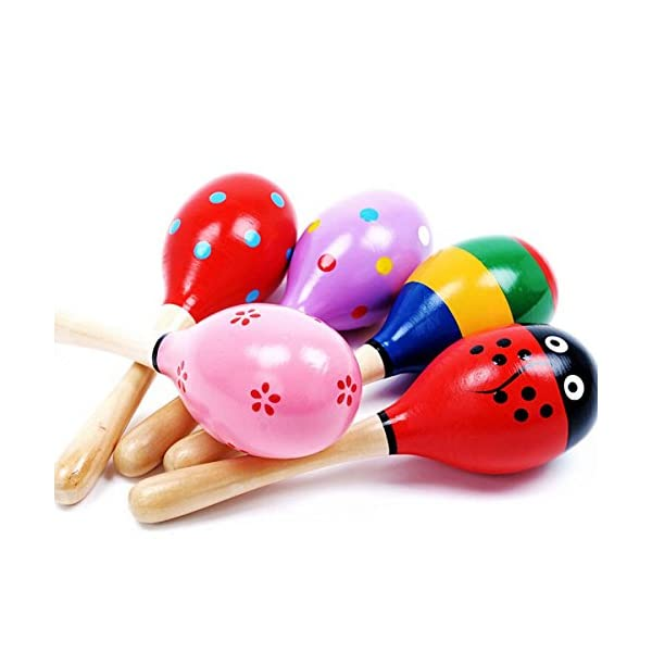 Veewon 6pcs Wooden Wood Maraca Rattles Shaker Percussion Kids Baby Musical Toy Favor Gift 2