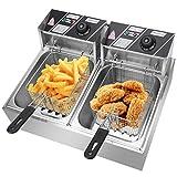 Friteuse en acier inoxydable 16L 5000W - Double friteuse électrique - 2 x 8L - Pour restaurant