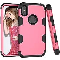 Shinyzone iPhone X Hülle,Hybrid 3 in 1 Kombination Silikon Innen Hartplastik Schutzhülle mit Rose Rot und Schwarz... preisvergleich bei billige-tabletten.eu