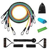 Kqpoinw - Set di Fasce Elastiche per Esercizi di Resistenza, con Tubi per Il Fitness, Manici in Schiuma, Ancoraggio per Porta, Cinturini per la Caviglia, per Palestra, Fitness, velocità, Yoga