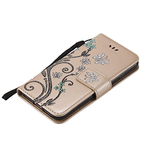 EUWLY Case Cover per iPhone 6 Plus/iPhone 6s Plus (5.5) Custodia Portafoglio PU Pelle Farfalle e Fiori Colore Solido PU Leather Wallet Cover Lanyard Protective Portafoglio Case Cover Internamente Sil Oro