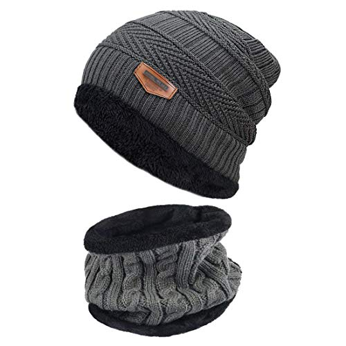 44bef0dfd85ee Unisex Winter Knitted Hat and Circle Scarf Set Outdoors Scarf Beanie Skiing  Hat for Men and