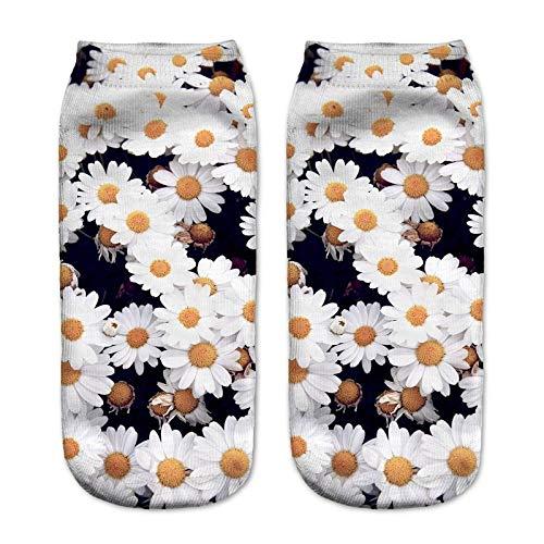 NANAYOUPIN Socken Atmungsaktive 5 Paar 3D Digitaldruck Socken Alpaka Leopard Tiger Penguin Niedlichen Cartoon-Muster Mann Frau Baumwolle Komfortable Lässige SockenBlume -
