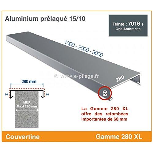 COUVERTINE/COUVRE-MUR - GAMME 280 XL - POUR MURET, ACROTERE OU TOIT TERRASSE (longueur 2000 mm, RAL 7016 SATINE GRIS ANTHRACITE)