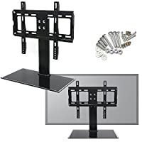 """Reelva Heavy Duty Adjustable LED/LCD/Plasma Black Glass TV Stand with TVs Mount 26""""-32"""" For Samsung Sony LCD"""