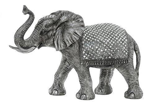Sukima Decor Figura con Diseño Elefante, Resina, Plateado, 68