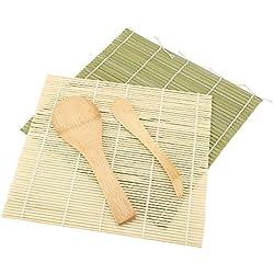 Sushi Maker Set, 4 Pz/Set Bamboo Sushi Rolling Mat Roller + Spargitore di Riso + Paddle di Riso Sushi Making Kit per Home Office