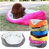 Awhao Haustierbett, für kleine Hunde/Katzen, erhöhte Ränder, rund, oval, Fleecestoff - 3