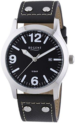 Regent  - Reloj Analógico de Cuarzo para Hombre, correa de Cuero color Negro