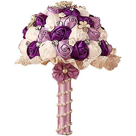 Cristallo Matrimonio Sposa Spilla Bouquets K ¨ ¹ somministrazione nstliche fiori perline pizzo floreale lilla