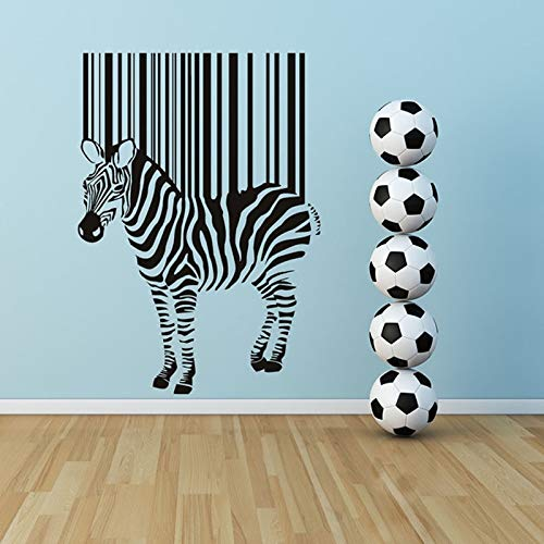 wukongsun Accessori per la casa Art Deco Dimensioni Autoadesivo Rimovibile Zebra Barcode Wall Sticker Cameretta per Bambini Home Decor 124cmX87cm
