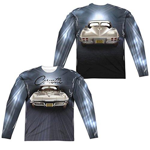 Trevco Langarm-T-shirt chevroletvette 4-4-63 nummernschild (vorne nach hinten) langarmhemd für Herren Groß Weiß