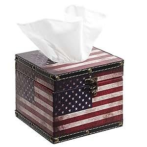 Style rustique Old Glory America Flag rechargeable-Animal Boîte à mouchoirs-Carré-Bois-Distributeur de serviettes en Papier