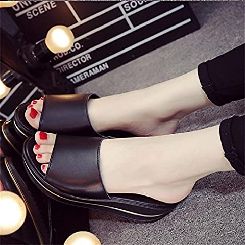Heart&M Mode féminine Casual Anti-dérapant Flat Sole Wedge Heel Muffin talon solides Sandales couleur Chaussons . black . 38