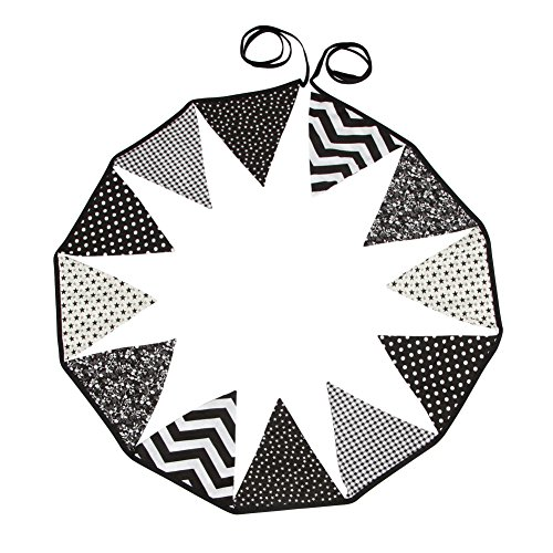 12 Wimpelkette Stoffgirlande zur Deko für Kinderzimmer (Schwarz / Weiß)