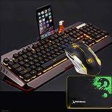 Kaiyu Tastiera da gioco cablata 455 * 175 mm (tastiera + mouse + cuffia (arancione, argento)) (Color : Gold)