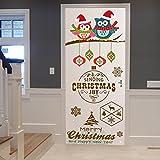 TIEZHI Kreativ Türaufkleber Bunt Eule DIY Wandgemälde Fröhliche Weihnachten Kombinationsset HD Poster Selbstklebend Tapete Zum Kinderzimmer Holztür Dekorative Abziehbilder